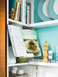 Turquoise Kitchen Decor with Space Saving Tricks
