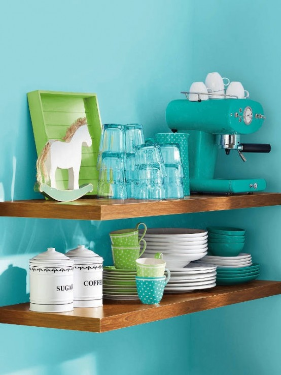 turquoise kitchen decor and space saving tricks kitchen