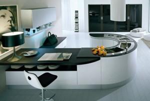 U shape kitchen work flow effortlessly in small kitchen by Pedini