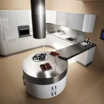 Ultra modern purpl kitchen with cylindrical fan above stovetop