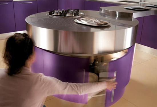 Ultra modern purple kitchenwith cylindrical fan above stovetop