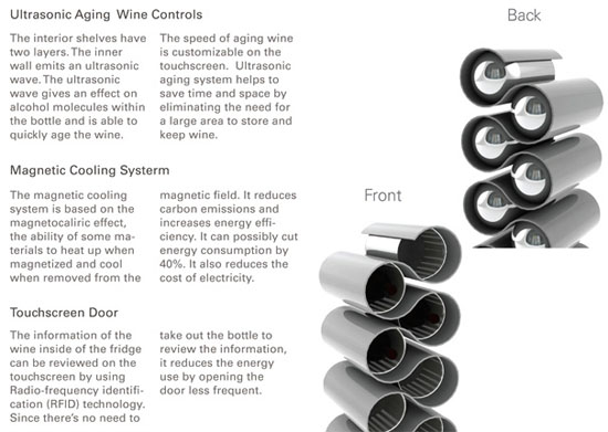 Ultra sonics wine storage with touch screen technology