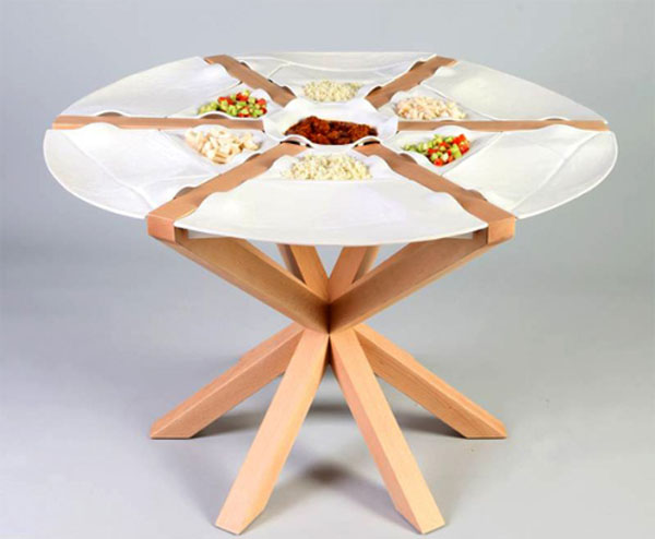 Unique round table made out of built in ceramic plates but removable