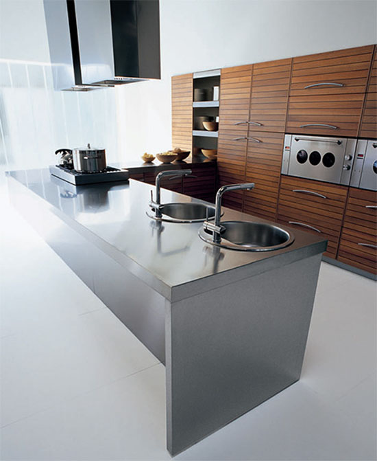 Walnut kitchen slats with black fillets give strong units linear look