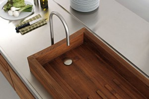 Water resistant kitchen with classic recessed sink a fabulou teak sink