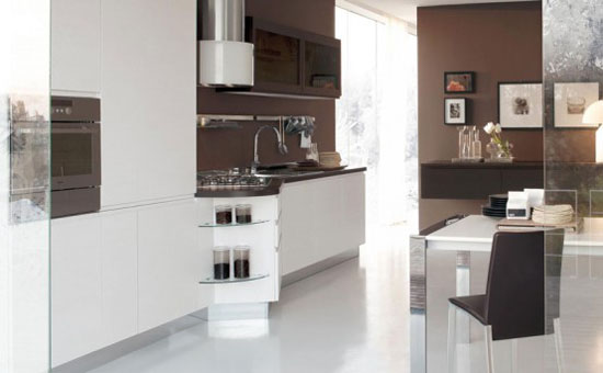 White Cabinet in Modern Italian Kitchens Design from Stosa