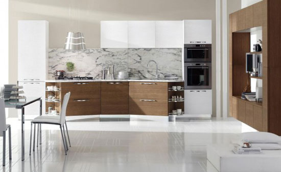 This kitchen is a model of Porter collection. The main idea of this kitchen design is a game of contrasts and asymmetrical forms. More information about this new site design STOSA modern kitchen. The kitchens in this collection are also available in other colors and natural wood finish. that is White Cabinets in Modern Italian Kitchen Design from Stosa from hote-ls.com