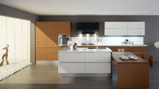 White Kitchens with Wooden Element in Oyster by Veneta Cucine