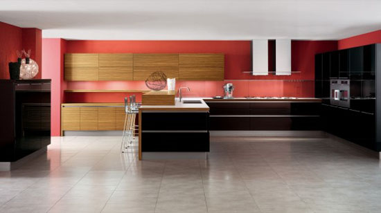 White Kitchens with Wooden Elements in Oyster by Veneta Cucine