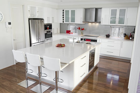 White gloss kitchen schemes design picture with wooden floors