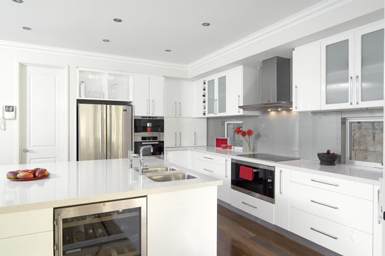 White gloss kitchens schemes design picture with wooden floors