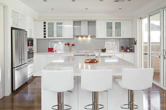 White gloss kitchens schemes designs picture with wooden floors