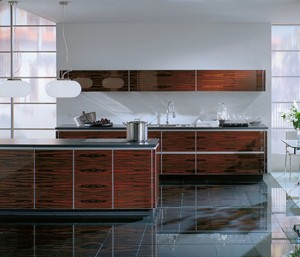 Wood glass kitchen eco friend option is illuminated shelf with glass back panel