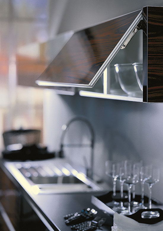 Wood glass kitchen eco friendly option is illuminated shelf with glass back panel