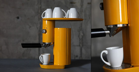 Yellow Espresso Machine looks good on coffee designed by Yaniv Berg