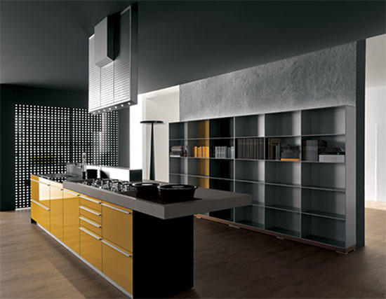 Yellow and grey Kitchen with snack bar in recyclable wood by Artematica Vitrum