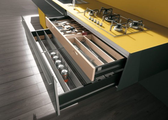 Yellow and grey Kitchen with snack bar in recyclables wood by Artematica Vitrum