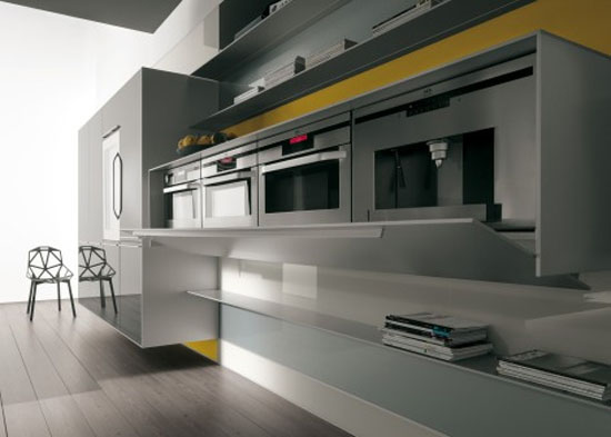 Yellow grey Kitchen with snack bar in recyclable wood Artematica Vitrum