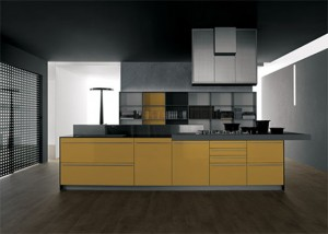 Yellow grey Kitchen with snack bar in recyclable wood by Artematica Vitrum