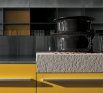 Yellow grey Kitchen with snack bar in recyclables wood by Artematica Vitrum