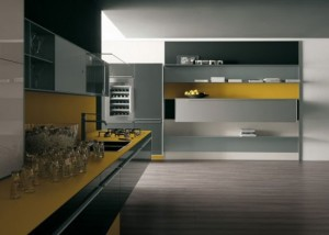 Yellow grey Kitchen with snacks bar in recyclable wood by Artematica Vitrum