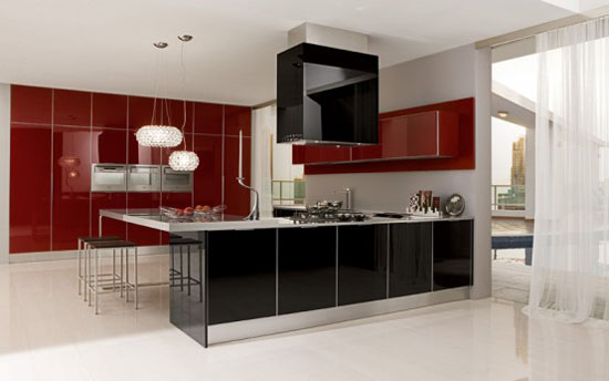 aluminum and glass cabinets doors of modern and minimalist kitchen