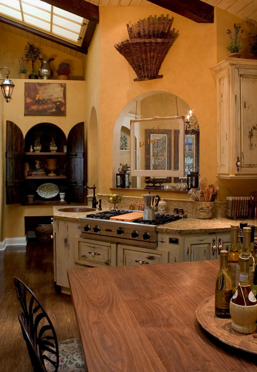an old world French kitchen attributes in modern style French country kitchen