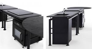 autonomous modular kitchen parts surrounded by rectangular worktop and circular table