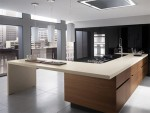 bisque kitchen countertop and peninsula extends into useful breakfast island by Ernestomeda
