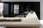 bisque kitchen countertop peninsula extends into useful breakfast island by Ernestomeda