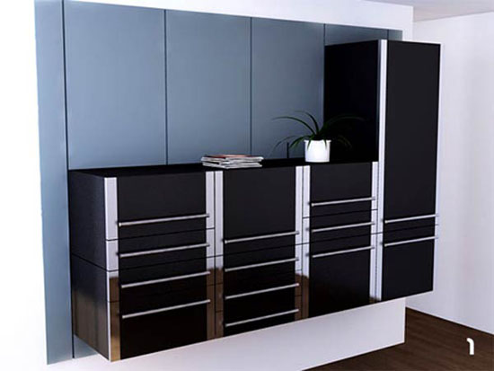 black Sliding Kitchen Cabinet System and white kitchen wall in small space