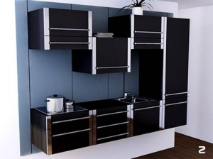 black Sliding Kitchen Cabinet System and white kitchen wall in small spaces