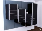 black Sliding Kitchen Cabinet System and white kitchens wall in small space