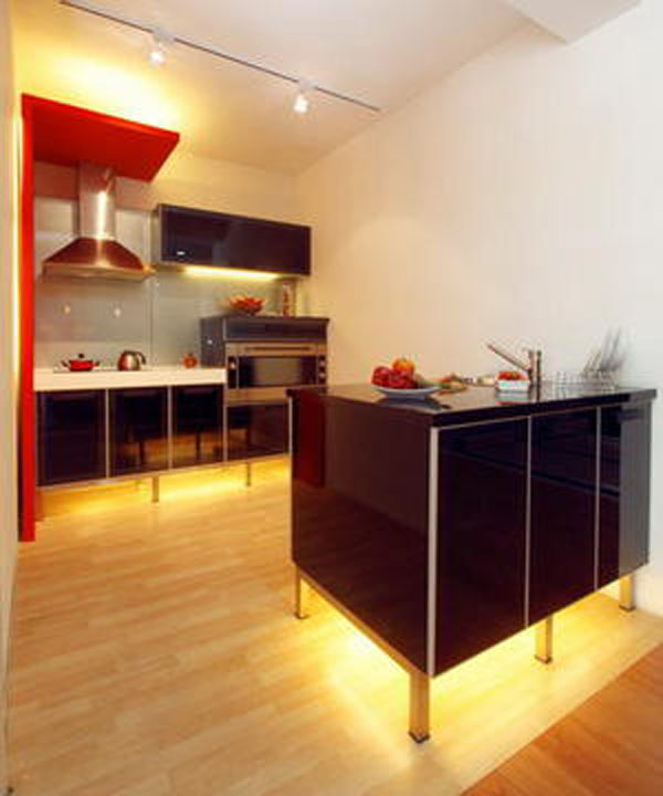black and glossy Small kitchen design create graceful appearance character gloomy and touch look