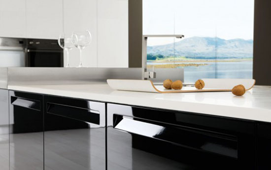 black and white kitchen interior decoration by Futura Cucines