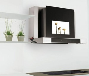 black and white kitchen meet in a 19 inch LCD flat screen TV and a digital tuner vent