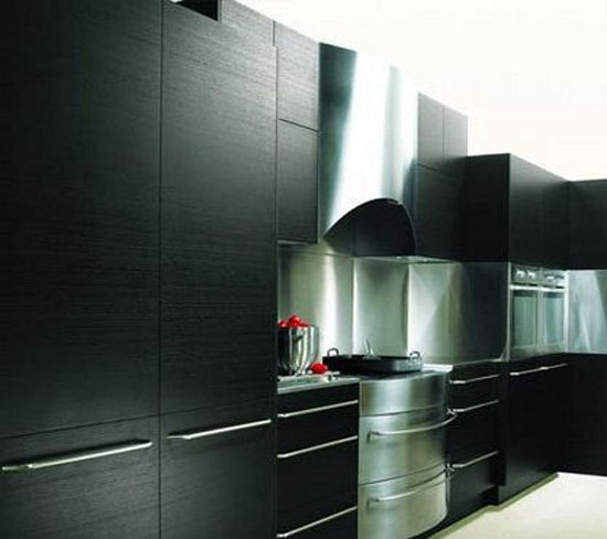 black cabinet accented with wood grain and island panels of lush American apple