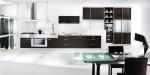 black kitchen as single color and elegant style blend dark wood