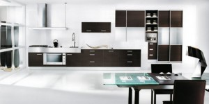 black kitchen as single color and elegant style blend dark wood