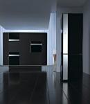 black kitchen as single color and elegant style blends dark wood
