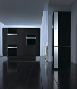 black kitchen as single color and elegant style blends dark wood