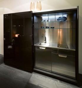 black kitchen furniture with amazing lacquered wood finish Casa fendi kitchens studio