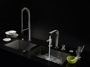 black stainless stell double kitchen sinks