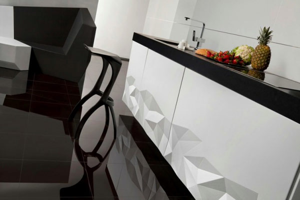 black white Origami inspired kitchen