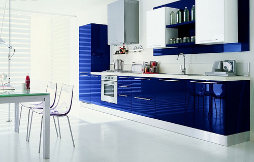 blue and red kitchen cabinet design easily accessible