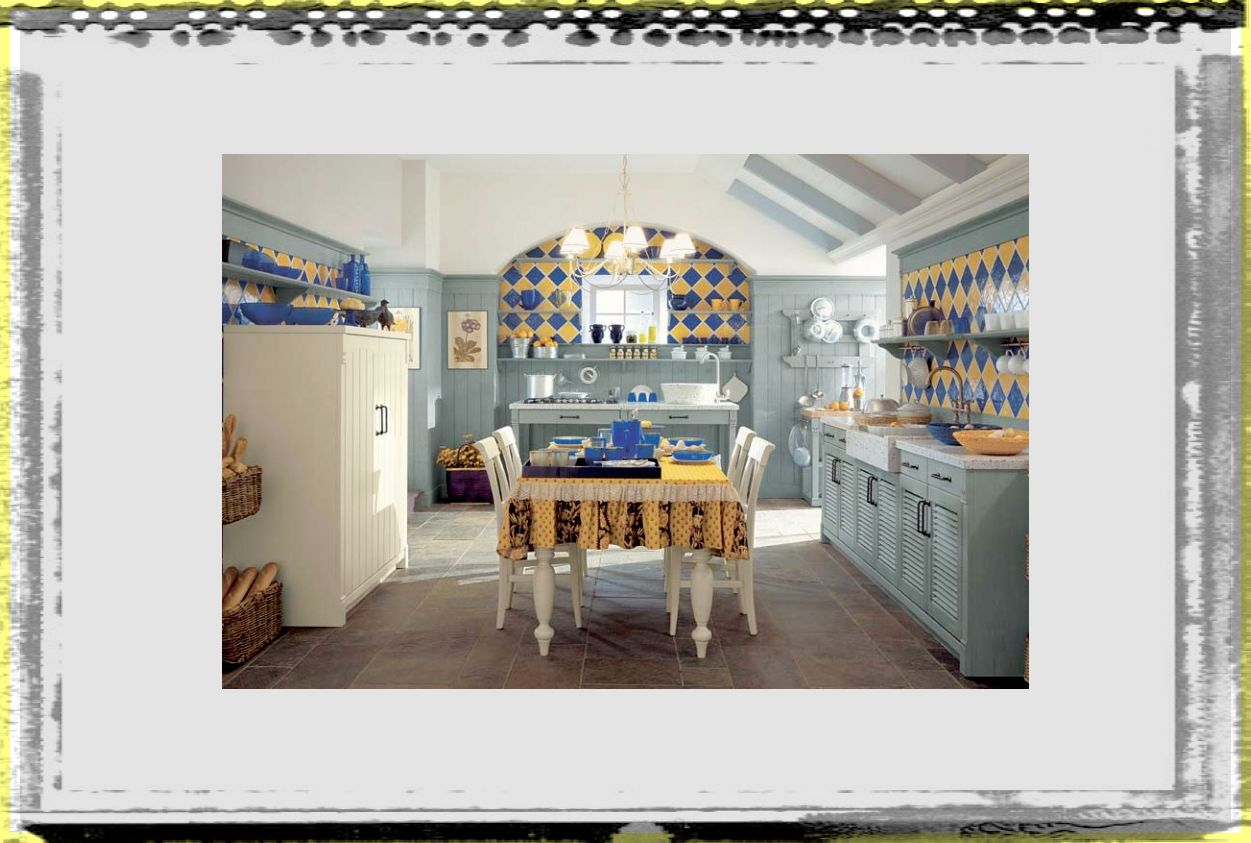 blue and yellow tile country kitchen vintage country kitchen ideas