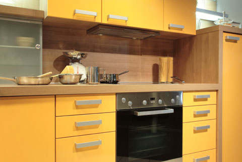 bold yellow color scheme as european tone of modern kitchen design