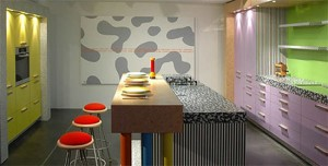 bright color patterns style of kitchen and gray color scheme make visual impact