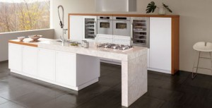 by snaidero glossy lacquer and wood in one contemporary kitchen design.