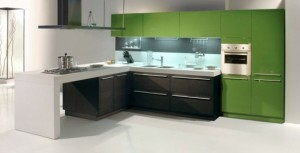 by snaidero glossy lacquer and wood in one contemporary kitchens design.